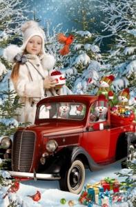 Зимняя постановочная фотосъемка детей Автомобиль Санты