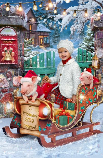 Новогодний детский коллаж. Зимняя фото сессия для детей