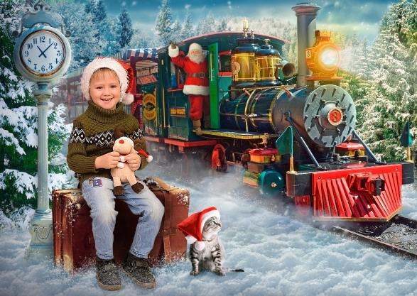 Зимняя и новогодняя фотосъемка в детском саду Санта на поезде