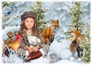 Детская фотосессия перед новым годом веселое зимовье