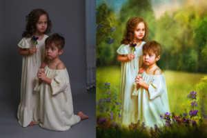Художественный рисунок Акварельными красками Портрет по фото акварелью