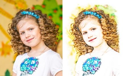 Портрет по фото цветными карандашами