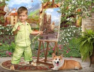 Шаблоны для детского портрета в саду