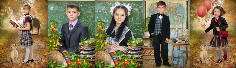 Школьная фотосъемка. Постановочные коллажированные портреты